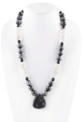 Barse Sterling Sliver Beaded Onyx & Clear Quartz Pendant Necklace