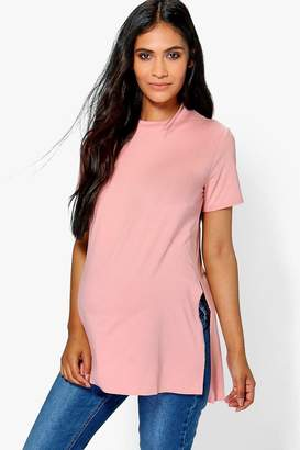 boohoo Maternity Side Split Oversized Tee