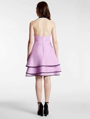 Halston Halter Color Blocked Structured Dress