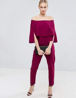 ASOS Ruffle Bardot Jumpsuit with Split Sleeve Detail $68 thestylecure.com