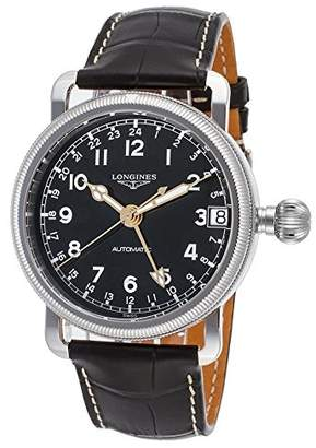 Longines Men's Leather Band Steel Case Automatic Analog Watch L27784532