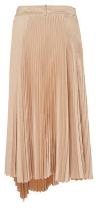 Cédric Charlier Mid-Rise Pleated Asymmetric Plissé Skirt
