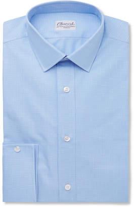 Charvet Blue Slim-Fit Checked Cotton And Linen-Blend Shirt