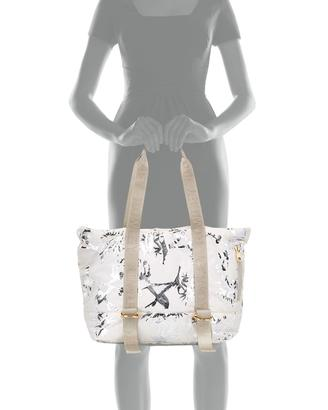 Cynthia Rowley Yani Yoga Bird-Print Tote Bag, Cream/Silver ...