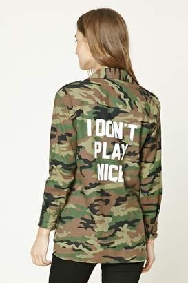 Forever 21 I Dont Play Nice Camo Jacket