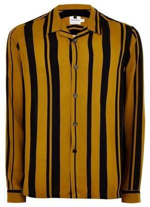 Topman Mens Yellow Mustard and Black Stripe Revere Shirt