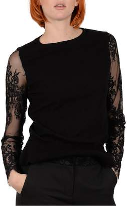 Molly Bracken Embroidered Mesh Sleeve Knit Top