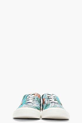 Paul Smith Blue Hawaiian Print Canvas Balfour Sneakers