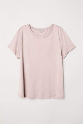 H&M Jersey Top with a Sheen - Pink