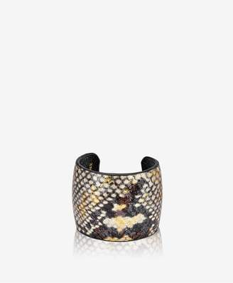 GiGi New York Amelia Leather Cuff In Gold Wash Embossed Python