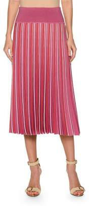 Agnona High-Waist Accordion Pleated Stripe Pull-On Skirt