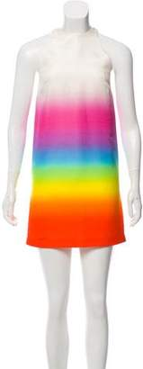 Christopher Kane Silk Rainbow Print Dress