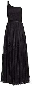Stella McCartney Women's Plisse Chiffon One-Shoulder A-Line Gown