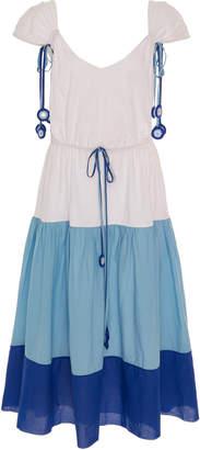 MY BEACHY SIDE Color-Block Cotton Midi Dress