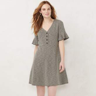 Lauren Conrad Women's Button Front Fit & Flare Dress