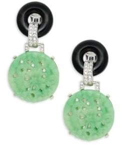 Kenneth Jay Lane Glass Crystal Double-Circle Drop Clip-On Earrings