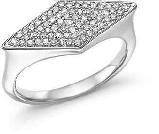 Adina Sterling Silver Pavé Diamond Stretched Diamond Signet Ring