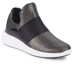 Donna Karan Cory Strap-Trim Mesh-Knit Sneakers