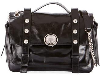 Balmain B Soft Shiny Leather Flap Shoulder Bag