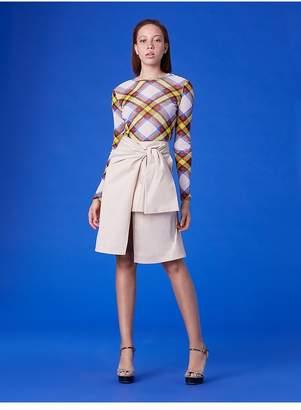 Diane von Furstenberg Waist Tie Front Slit Cotton Skirt