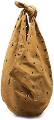 Saint Laurent Hobo eyelet-embellished suede bag