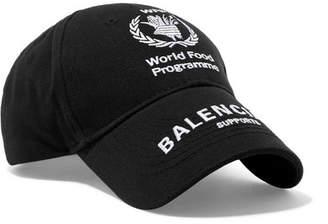 Balenciaga World Food Programme Embroidered Cotton-twill Baseball Cap - Black