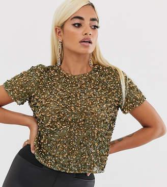 Asos DESIGN Petite t-shirt with sequin embellishment