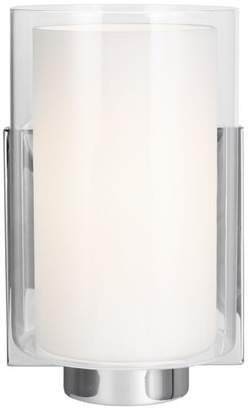 Feiss Murray Lighting Bergin One Light Wall Sconce Chrome White Opal Etched/Clear Glas