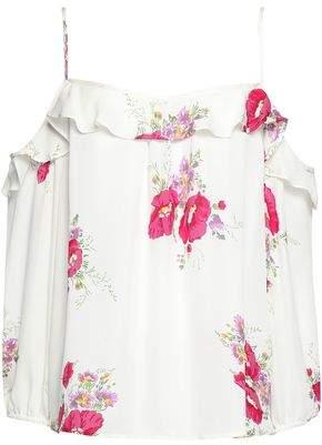 Joie Birtha Cold-Shoulder Ruffle-Trimmed Floral-Print Silk Crepe De Chine Top