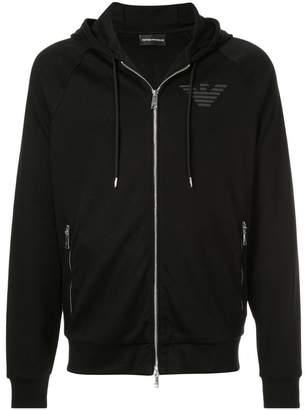 Emporio Armani logo print zipped hoodie