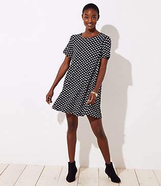 LOFT Petite Leafed Short Sleeve Swing Dress