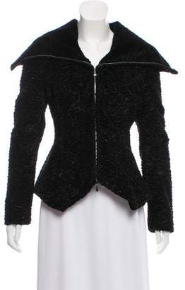Giorgio Armani Faux Fur Fitted Jacket