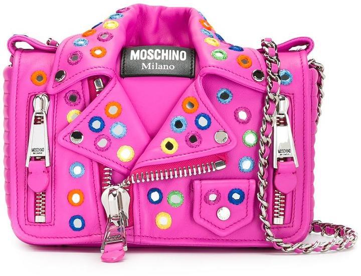 MoschinoMoschino mirror embroidered biker shoulder bag