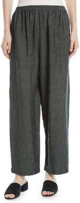 eskandar Linen Japanese Trousers with Ankle Side Slits