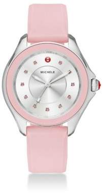 Michele Cape Topaz, Stainless Steel& Silicone Strap Watch/Powder Pink