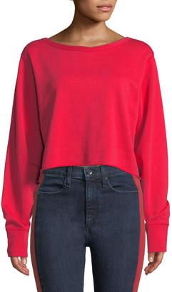 Rag & Bone Crewneck Cotton Terry Cropped Sweatshirt