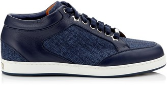 Jimmy Choo MIAMI Navy Tweedy Canvas and Leather Sneakers