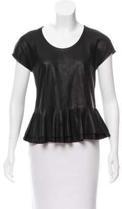 Yigal Azrouel Cut25 by Leather Short Sleeve Top