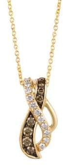 "LeVian 14K Honey Gold Vanilla Diamonds & Chocolatier® Chocolate Diamonds Gladiator Weaveâ""¢ Pendant Necklace"