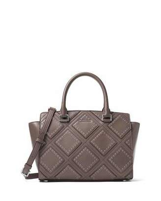 MICHAEL Michael Kors Selma Medium Diamond-Grommet Satchel Bag, Cinder $498 thestylecure.com