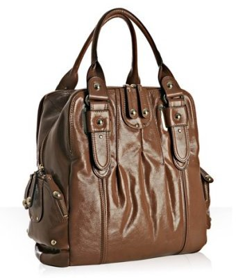 Hype light brown glazed leather 'Gaby' north/south tote