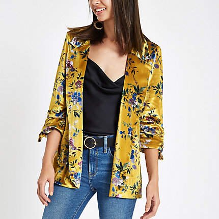 Womens Yellow floral print ruched sleeve blazer