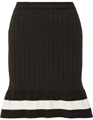 Moschino Striped Metallic Jacquard-knit Mini Skirt - Black