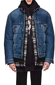 Balenciaga Men's Layered Oversized Puffer Jacket - Blue