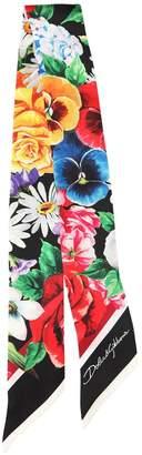 Dolce & Gabbana Small Floral Print Silk Twill Scarf