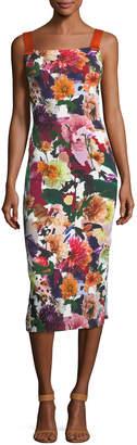 Cushnie et Ochs Floral Ribbon-Strap Midi Dress