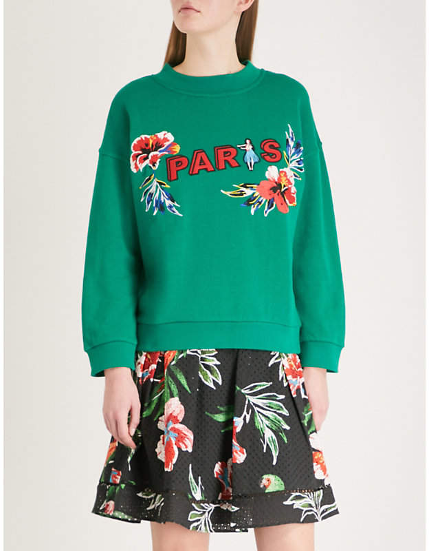 Paris cotton-jersey sweatshirt