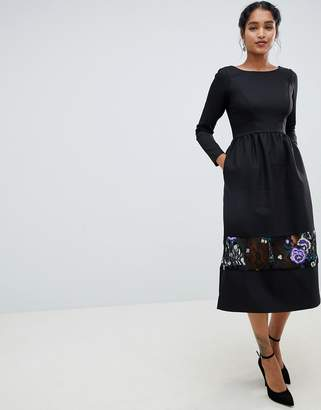 Closet London long sleeve midi dress with embrodiered detail