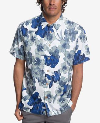 Quiksilver Waterman Men Rain Flowers Hawaiian Shirt