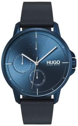 HUGO Leather Strap Watch, 42mm